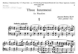 Free-sheet-music by Brahms Page 2 of 4 pages
