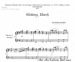 Free-sheet-music for Organ by Mendelssohn